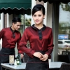 waitress wine shirt + black apronPeter Pan collar men & women shirt,Professional waiter uniform