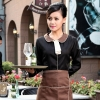 waitress black shirt + coffee apronPeter Pan collar men & women shirt,Professional waiter uniform