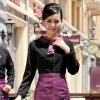 waitress black shirt + purple apronPeter Pan collar men & women shirt,Professional waiter uniform