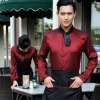waiter wine shirt + black apronPeter Pan collar men & women shirt,Professional waiter uniform