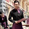 waiter black shirt + purple apronPeter Pan collar men & women shirt,Professional waiter uniform