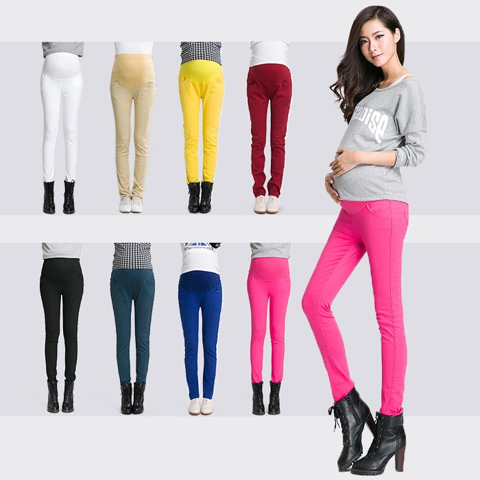 fashion candy color high elastic waist pregnant pants maternity ...