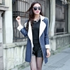 PU leathr artificial fur lining women's patchwork windbreak trench coat
