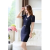 navy color dressfashion grace formal stripes office work  dress