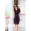 purple color dressfashion grace formal stripes office work  dress