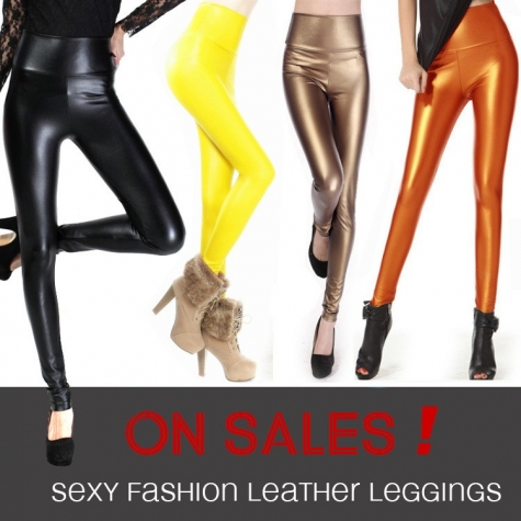 high waist sexy comfortable PU leather pant leggings