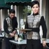 women sliverwedding formal style service staff blouse blazer uniform for waiter