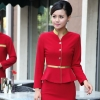 women red (skirt + blazer)golden hem high quality wineshop hotel uniform workwear