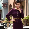 women purple(skirt + blazer)golden hem high quality wineshop hotel uniform workwear