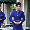 women sapphire (skirt + blazer)golden hem high quality wineshop hotel uniform workwear