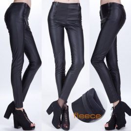 dual zipper sexy fleece lining high quality PU leather pant leggings tights