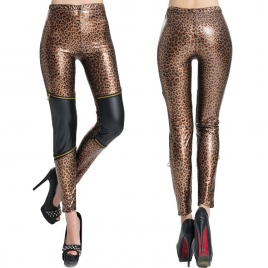 2014 sexy leopard zipper patchwork women's pant leggings