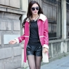 great quality overcoat PU leater artificial fur lining autumn long style outfit women's windbreaker coat