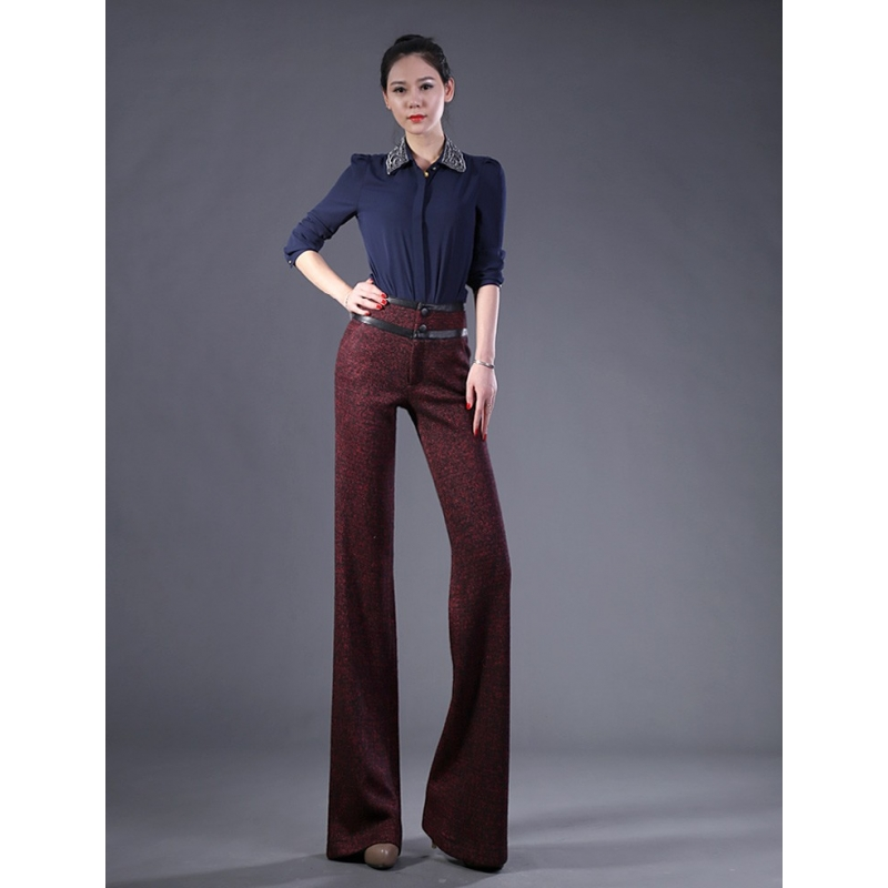 Fashion Wool Work Office Style Womenu0026#39;s Flare Pantformal Toursers - TiaNex