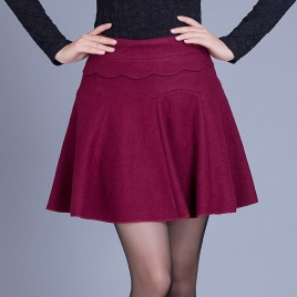 Korea fashion wool grace high quality plait skirt for young lady