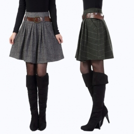 Euramerican style dual pocket wool blends skirt