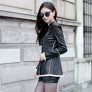 2014 elegant fashion europe america design pu leather side opening women's jack coat