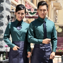 upgraded long sleeve coffee shop cafe waiter waitress coverall uniform shirts