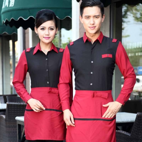 autumn black red patchwork hotel fast food restaurant workwear