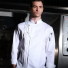 white chef coatItaly design Pleated front restaurant chef coat jacket