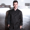 black chef coatItaly design Pleated front restaurant chef coat jacket