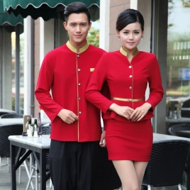 golden hem high quality wineshop hotel uniform workwear