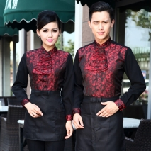 high quality stain jacquard floral pattern water uniform waitress workwear