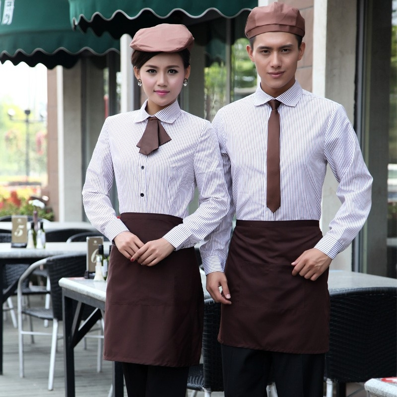 Korea style thin stripes hotel restaurant waiter waitress