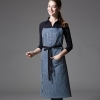 long navy stripes apron