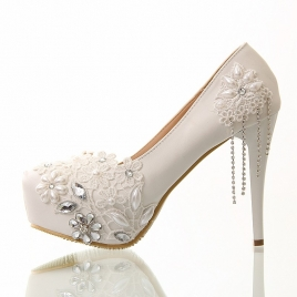 fashion nice lace tassel bridesmaids bride shoes wedding high heel