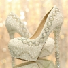 fashion grace design pearl bead crystal shoes wedding bride high heel pump