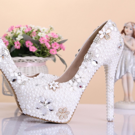 luxury special design pearl crystal pumps wedding shoes party high heels