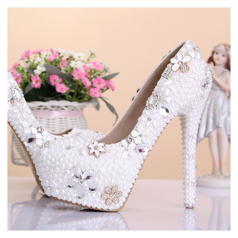 luxury special design pearl crystal pumps wedding shoes party high heels dee957128c9b