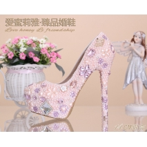 fashion lovely pink rhinestone pearl dance club party wedding princess shoes