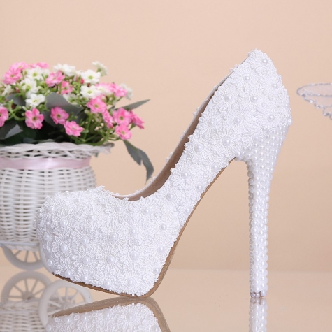 lace pearl young girls prom party wedding shoes pumps