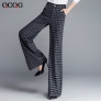 autumn wine square print  women work pant flare pant