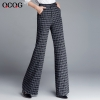 square patternautumn wine square print  women work pant flare pant