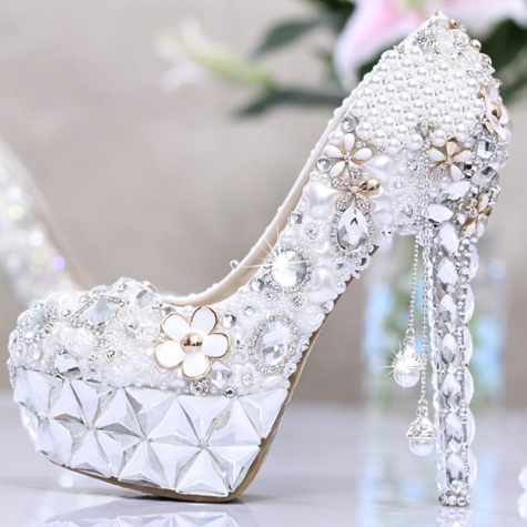 Ultra Fashion Luxury Pearl Crystal Shoes King Of Wedding High Heel Pumps