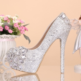 cute fashion great quality women's crystal shoes,princess high heels