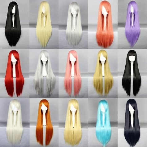 colorful straight long party cosplay wigs hair extension 80cm tianex. Black Bedroom Furniture Sets. Home Design Ideas