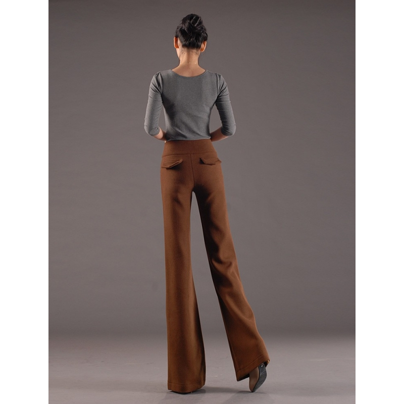 Thicken Woolen Wide Leg Office Formal Womenu0026#39;s Flare Pants Bellbottoms - TiaNex
