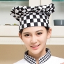 black and white square print chef hat
