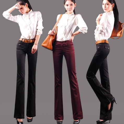 High quality fabric straight leg work style women bootcut