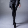 winter fleece lining warm PU leather women pant