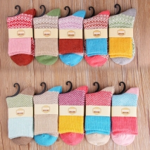 thicken wool jacquard warm women sock wholesale