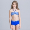 3colorful-dashed hem girl swimwear girl bikini