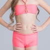 4colorful-dashed hem girl swimwear girl bikini
