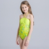 9cute flower stripes one piece girl water play swimwear