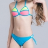 11cute flower stripes one piece girl water play swimwear