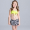15cute flower stripes one piece girl water play swimwear